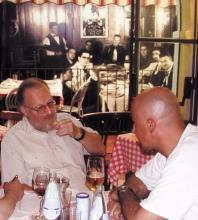 Bill Peterson con Paco Zanoia al Ristorante Little Italy di Verbania